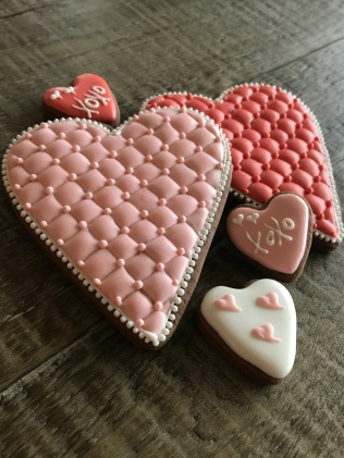 Paige's Designer Cookies Quilted heart group far